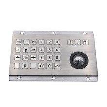 Industrial Keyboard With Numeric Keys And Trackball IP65 Stainless Steel USB Kiosk Keypad 24 Keys Metal Keypad