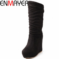 ENMAYER New 2014 Autumn And Winter Fashion Mid Calf Women S Wedges Flock Women Boots Round