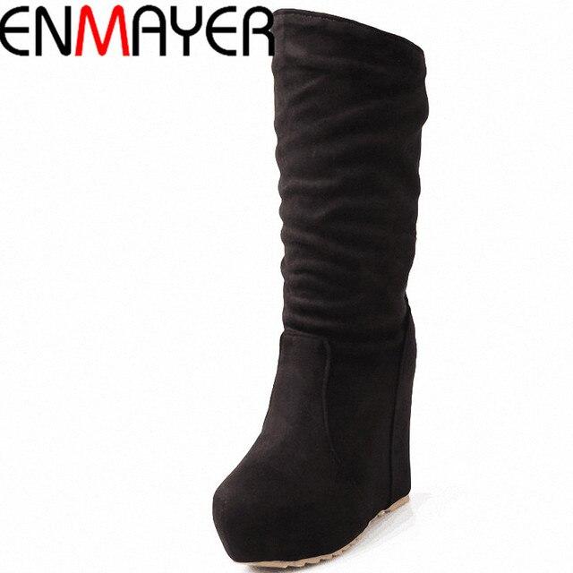 ENMAYER Yeni Sonbahar ve Kış Moda Orta Buzağı kadın Takozlar Akın Kadın Çizmeler Yuvarlak Ayak Martin Çizmeler Siyah kırmızı BlueShoes Kadınlar