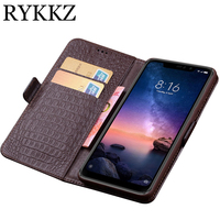 RYKKZ Case For Xiaomi Redmi Note 6 Pro Luxury Wallet Genuine Leather Case Stand Flip Card Hold Phone Book Cover Bags Case