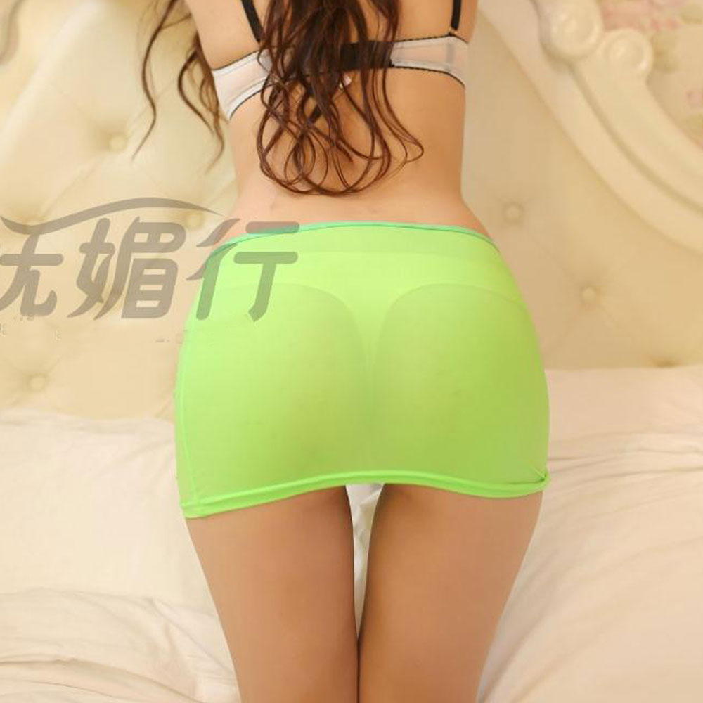 1PCS Sexy Candy Colors Pencil Skirt See Through Cute Micro Mini Skirt Night Club Skirt Fantasy Erotic Wear Tight Skirt Free Size