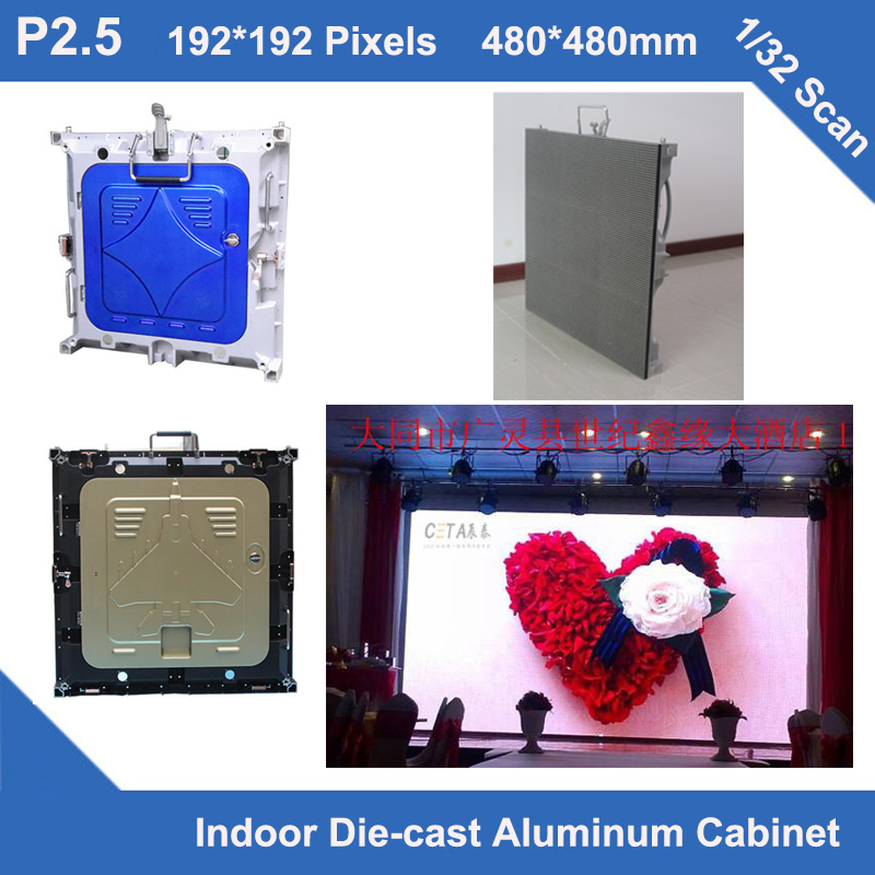 TEEHO P2.5 indoor Diecast Cabinet 2 years warranty 480mm*480mm ultra Thin 1/32 scan rental panel advertising wedding video board ...