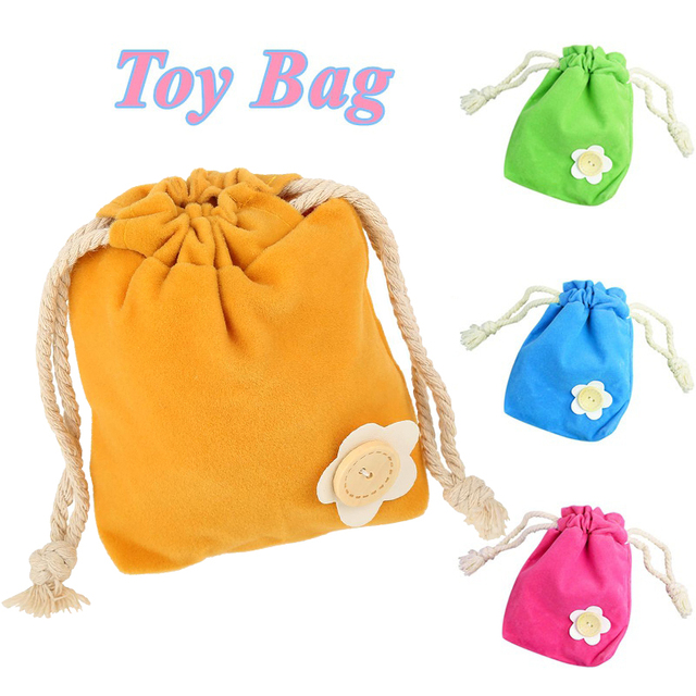 Cute Portable Baby Playing Toys Storage Pouch Bags Mini Organizer Flocking Cloth Simple Decoration Bag