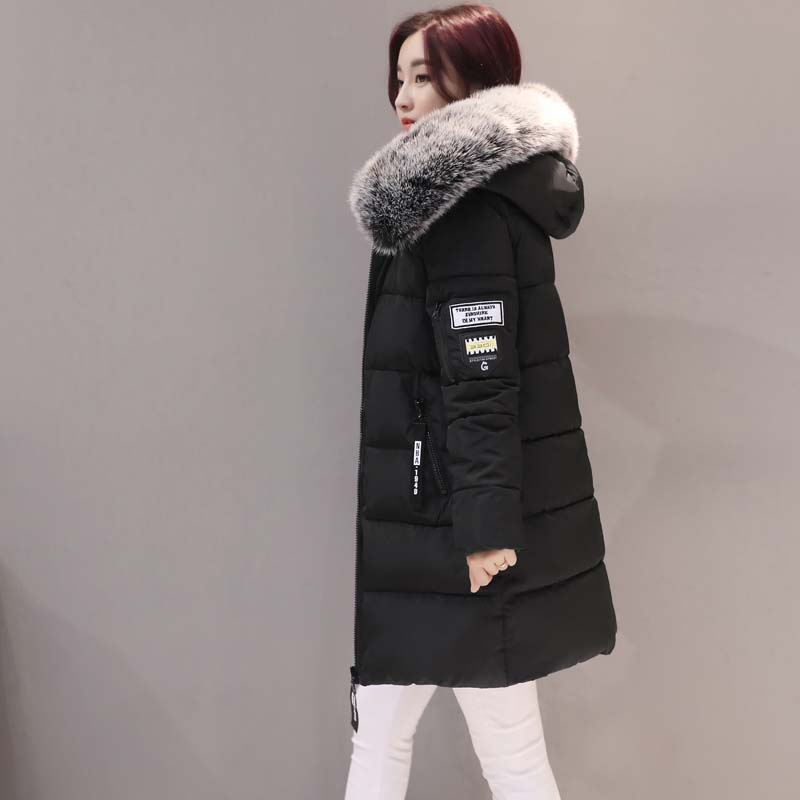 Winter Jacket Women 2019 Middle Long Cotton-padded Jackets Big Fur Hooded Collar Parkas Thicken Warm Winter Coat Female