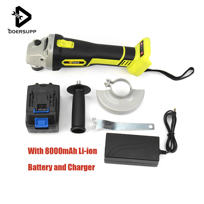 68V 8000mAh Cordless Angle Grinder Rechargable Wireless Brushless Electric Grinder Lithium Battery for Cutting 100mm Power Tools ...