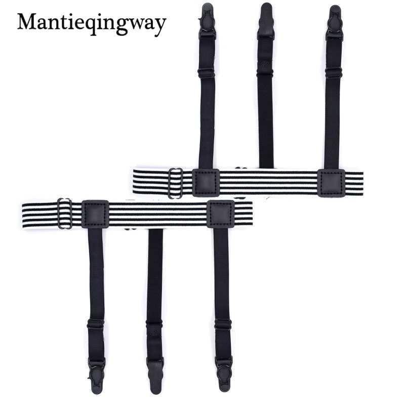 ee15ddd6b ... Mantieqingway 3 Clips Shirt Stays Garters for Mens Elastic Nylon  Adjustable Shirt Holders Women Striped Suspenders ...