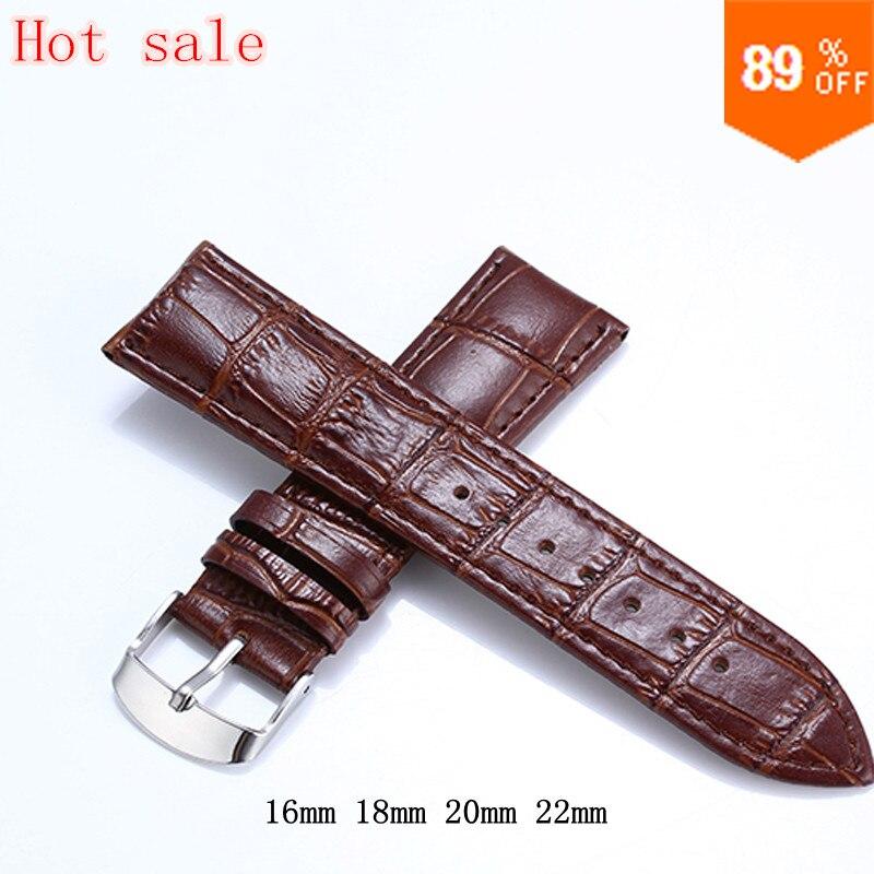 Brown Genuine Leather Watchbands 22mm Waterproof Calfskin 16mm 18mm Watch Straps Silver Buckle Bracelet Black 20mm Watch Band(China (Mainland))