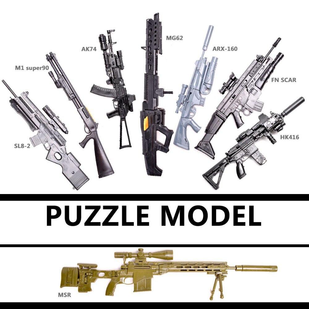 1//6 4D SVD TAC MK14 Sniper Rifle Gun Model Assemble Weapon For Action Figure