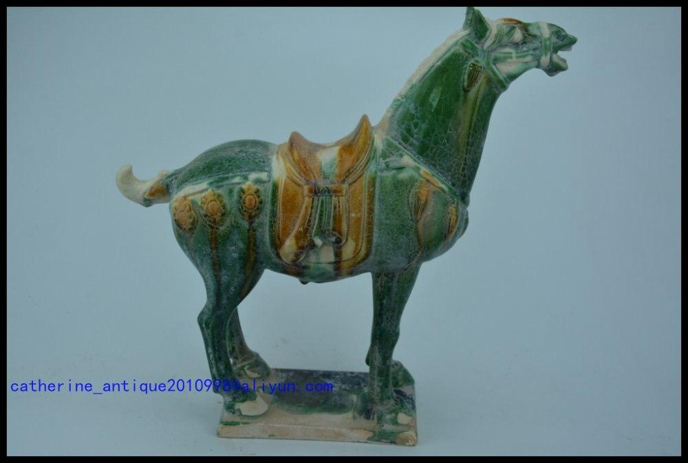 Коллекционная Династия Тан (618 907) Китайская керамика * Лошадь три цвета * Сан КАИ *, небесные крики, зеленая глазурь, бесплатная доставка