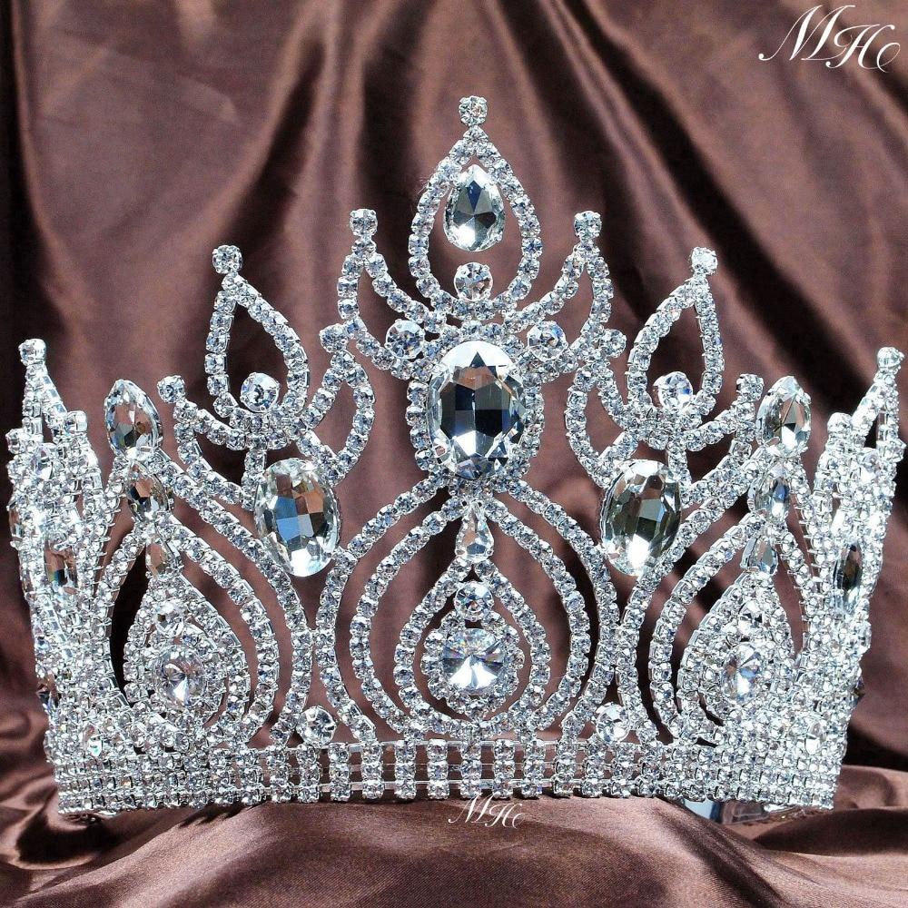 Magnificent Tiara Diadem Large Crown Clear Crystal Austrian Rhinestone Wedding Bridal Pageant Prom Party Headband Hair