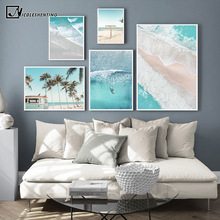 Póster Escandinavo de naturaleza con imagen de olas en el océano y barcos, decoración nórdica, Impresión de autobús de playa y arena, cuadro sobre lienzo para pared