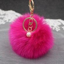 2016 Hot Sale Fluffy Ball Keychain Cute Pompom Simulation Rabbit Fur Ball Key Chain For Car Key Ring Car Bag Pendant Chaveiro