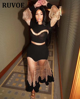 Black With Gold Hollow Out Long Sleeve New High Quality Ankle Length Sexy Mesh Celebrity Party