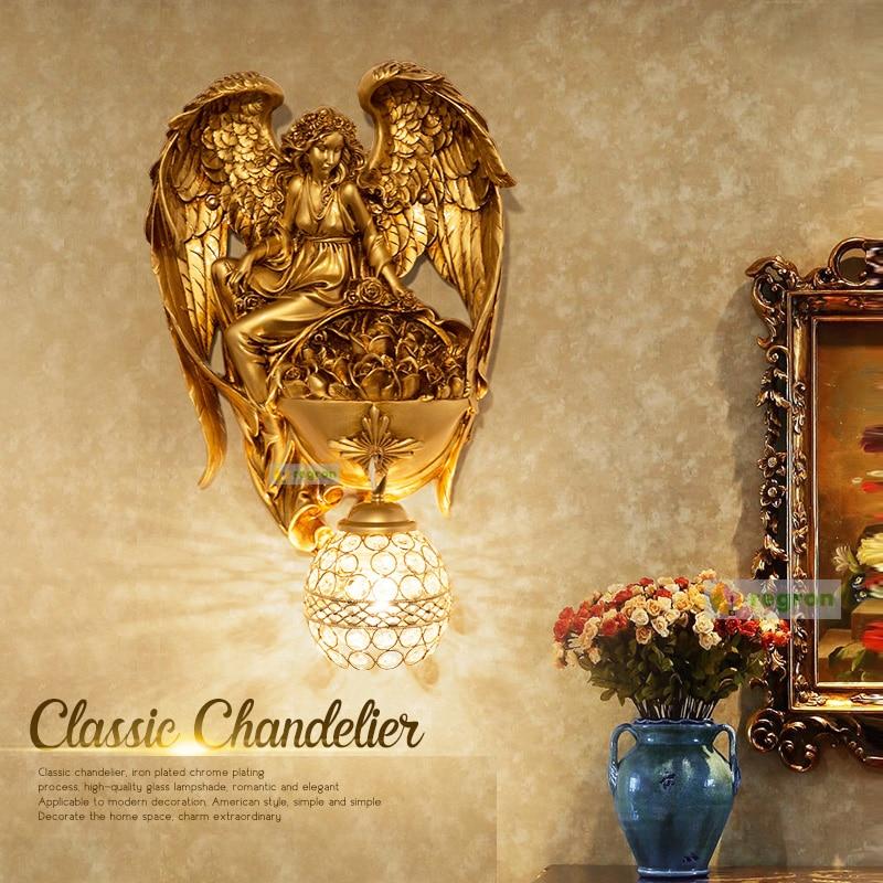 Современные Бра Настенные светильники Ангел Гостиная фон личность Винтаж Спальня ночники проход Лестницы золото светодиодные лампы