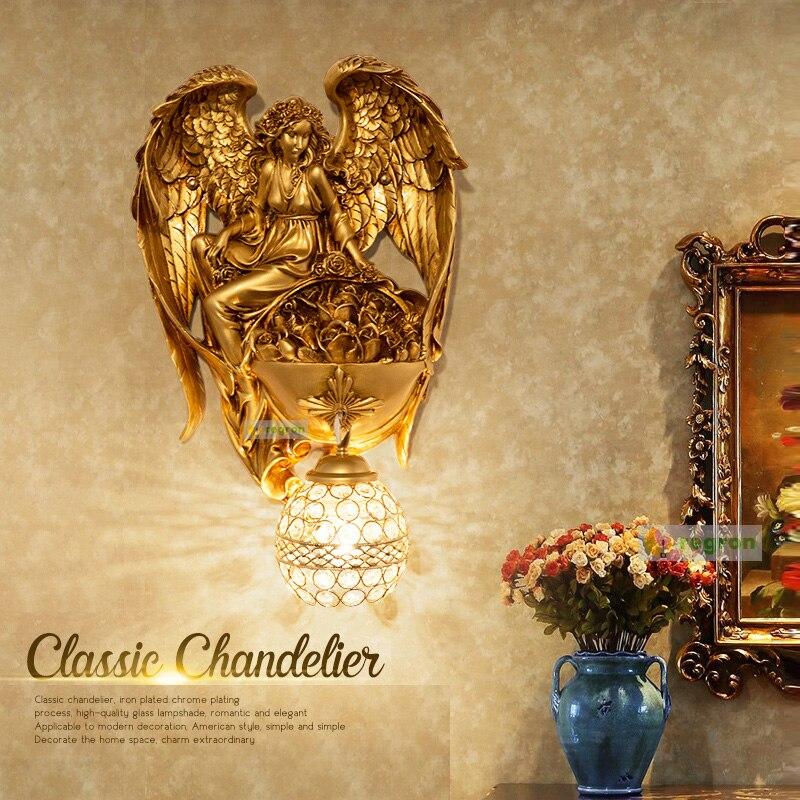 Appliques murales modernes ange salon toile de fond personnalité Vintage chambre lampe de chevet allée escaliers or lampe à LED
