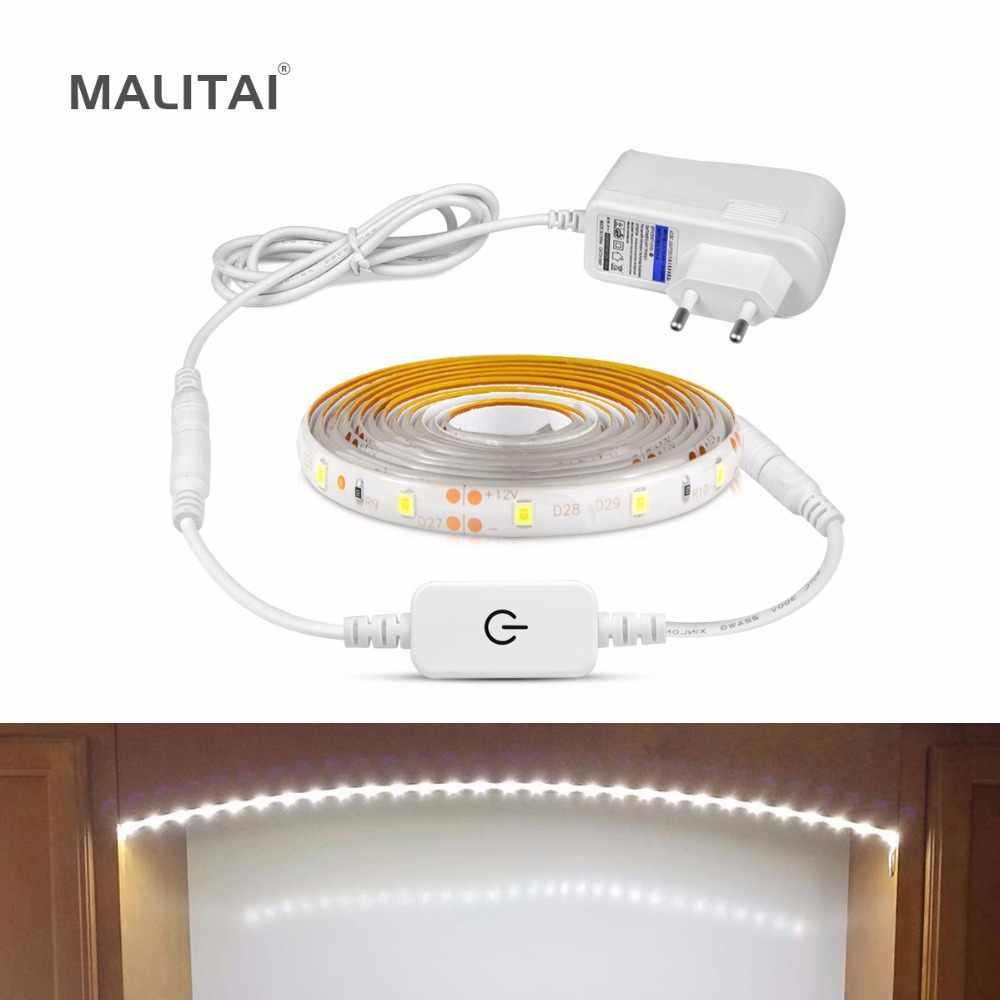 Затемняемый Светодиодный под кухонный шкаф свет с сенсорным шкаф для ключей шкаф сенсор лампа 1 м-5 м Светодиодные полосы шкаф ночник