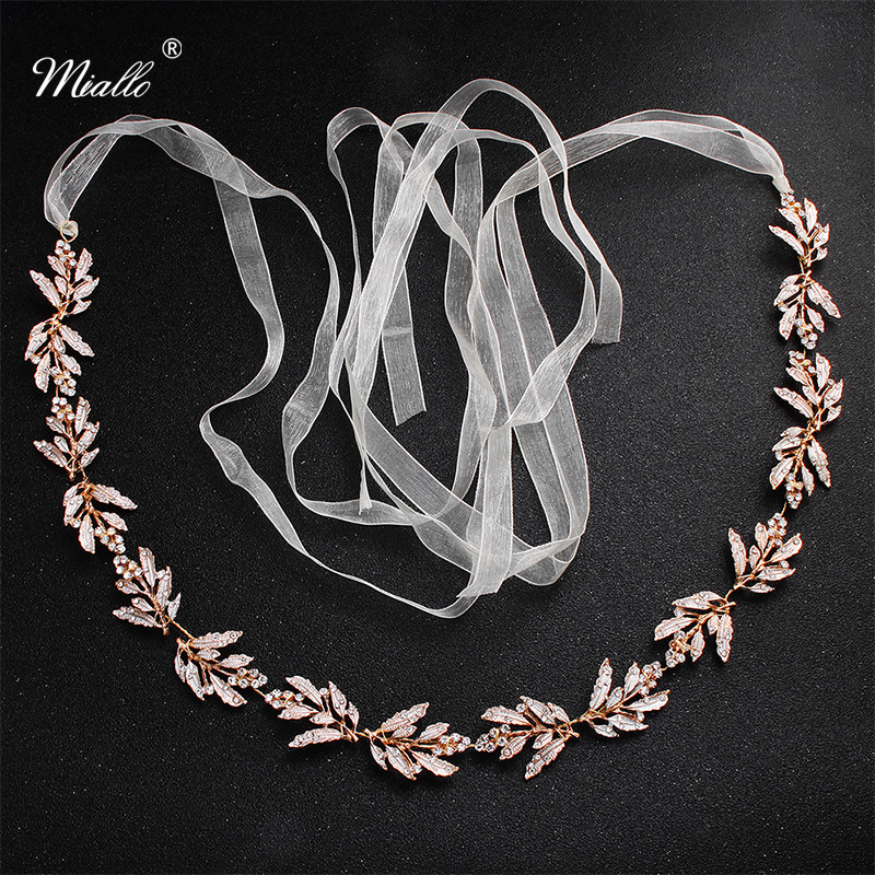 Miallo Classic Leaves Thin Crystal Handmade Wedding Belts & Sashes for Bride Bridesmaids Skinny Sashes Bridal Dress Accessories