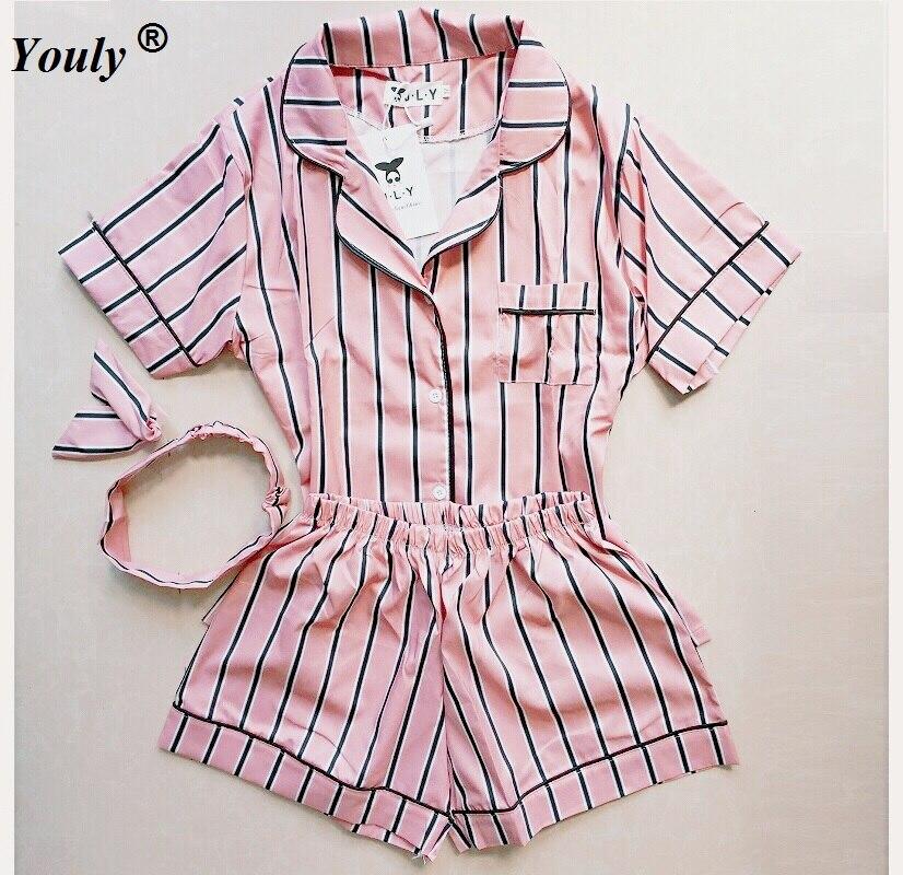 Большие размеры, лето 2019, модные женские пижамы, отложной воротник, одежда для сна, комплект из 2 предметов, рубашка + шорты, полосатые повседневные пижамные комплекты