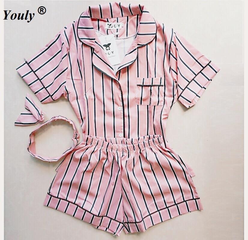 Plus Size Summer 2019 Fashion Women Pajamas Turn-down Collar Sleepwear 2 Two Piece Set Shirt+shorts Striped Casual Pajama Sets