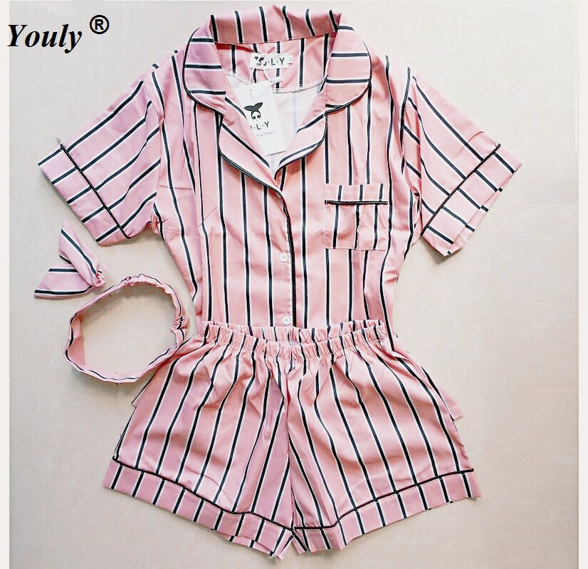 Plus Size Summer 2019 Fashion Women   Pajamas   Turn-down Collar Sleepwear 2 Two Piece   Set   Shirt+Shorts Striped Casual   Pajama     Sets
