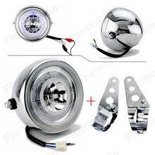 Chrome LED 6 1/2″ Motorcycle Headlight HeadLamp W/ Bracket For Kawasaki Harley Honda Suzuki Yamaha Blue Angel Eye Custom