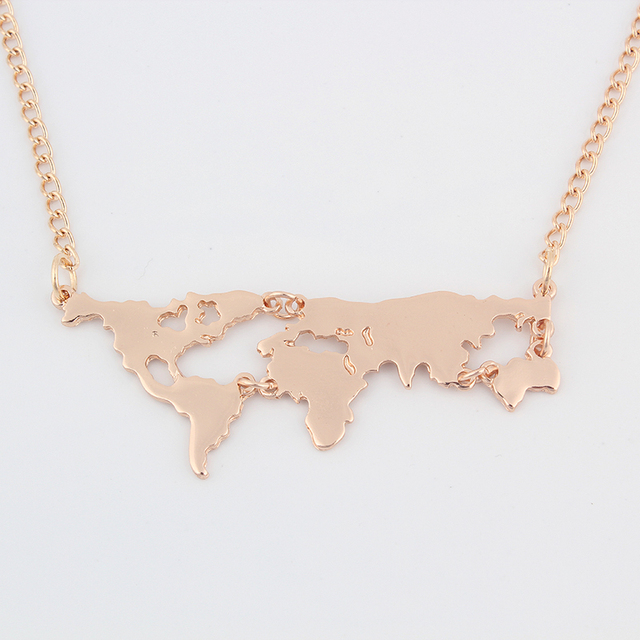 Fashion Gold World Map Necklace