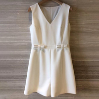 2019 Summer New Arrival White Playsuit Women Elegant Playsuit with V neck Collar High Quality Women Playsuit Casual