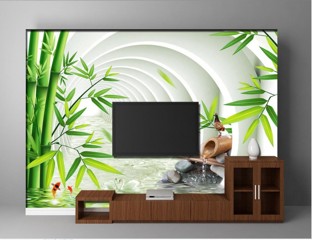 Wallpaper 3d mural bamboo space tv background wallpaper 3d for 3d wallpaper for home decoration