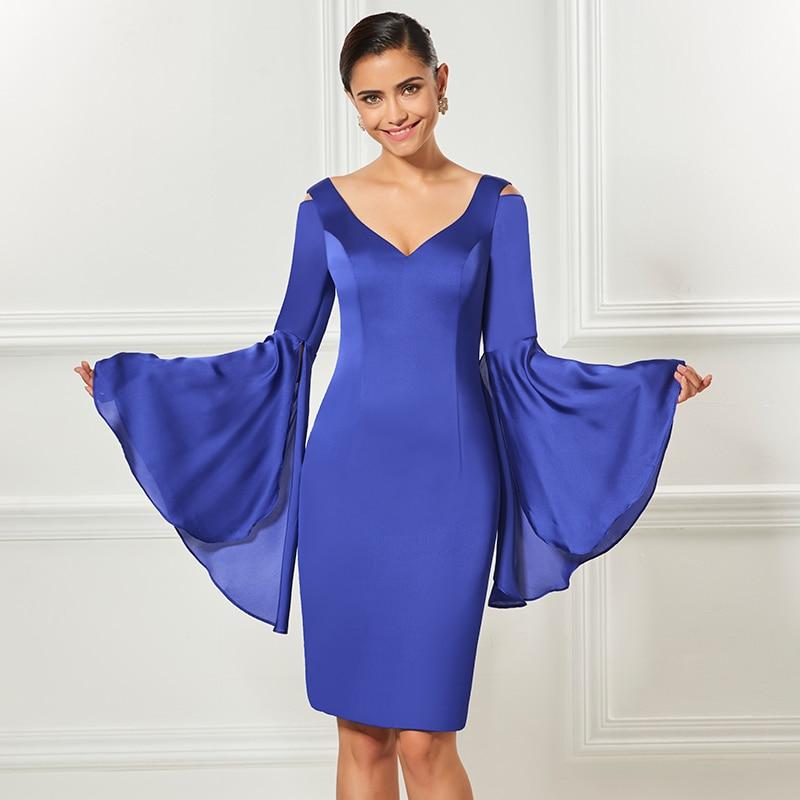 Tanpell v neck short cocktail dress indigo long sleeves knee length sheath dress women party formal customed cocktail dresses