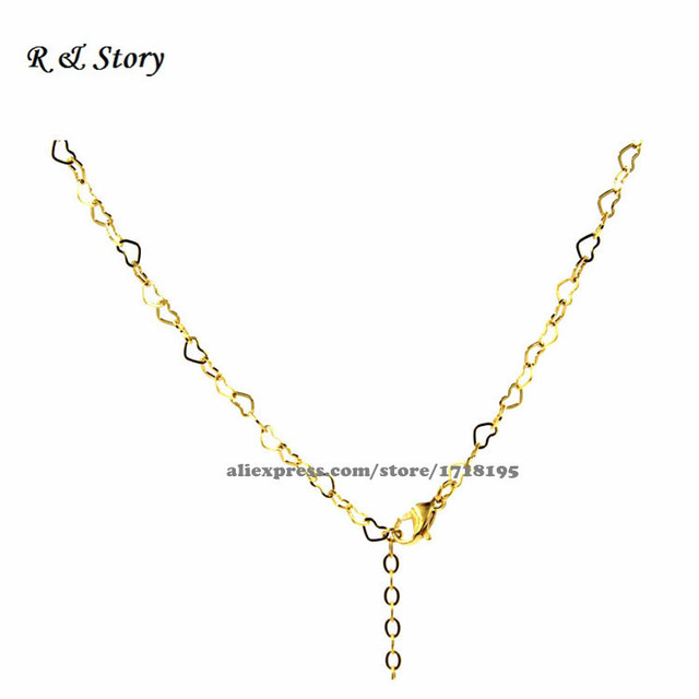 Cute gold heart link chains for floating locket necklace chain