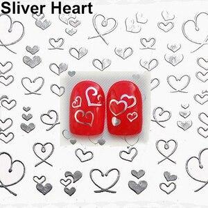 Image 2 - 3d bowknot coração unha arte dicas decoração studs adesivo auto adesivo diy decoração manicure decalques