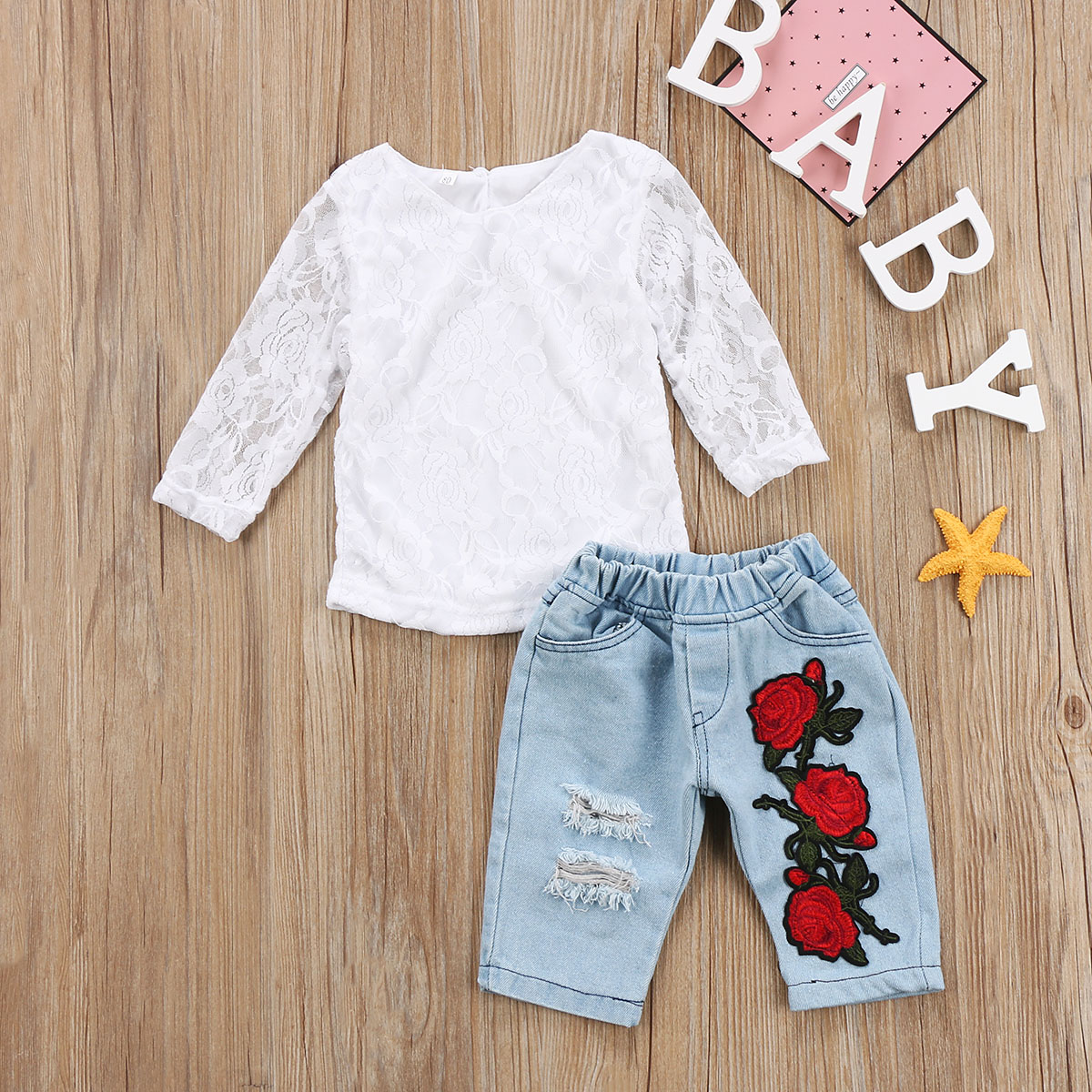 Kids Baby Girls Lace net Long Sleeve Clothes T-shirt Tops 3D Flower Denim Hot Pants Outfits Set Clothes