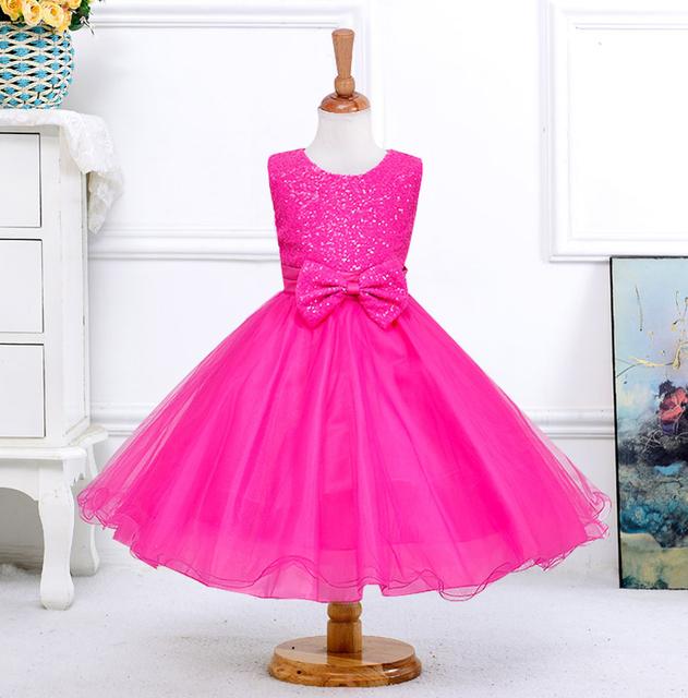 Retail 1 unids Nuevas niñas arco de Lentejuelas rojas hermosa sin mangas de Fiesta de la boda Vestido de envío libre 8089