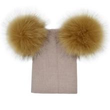 Kids Warm Winter Caps Double Fur Pom Pom Beanie Wool Knitted Hat Baby Boys Girls Two Raccoon Balls Cap