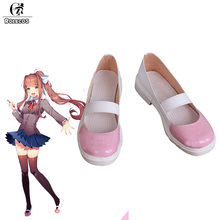 ROLECOS Monika Cosplay Обувь Game Doki Doki Литературный клуб Game Cosplay Shoes Розовый Janpanese Shoes