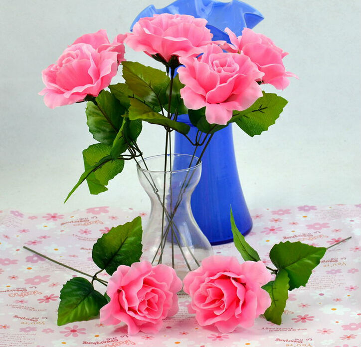 20pcs/lot Cheap Single head artificial rose flowers 6 colors real ...