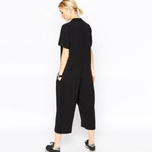 2018 summer black rompers womens jumpsuit Elegant side pocket loose-fitting combinaison femme Romper overalls jumpsuit for women