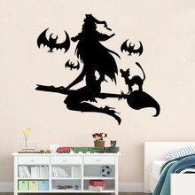 Cartoon Bats Witch Riding The Broom Wall Stickers Halloween Glass Backdrop Decoration Shop Window