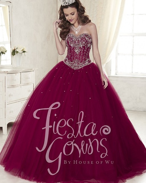 Gorgeous Maroon Quinceanera Dresses 2017 Tulle Quinceanera Ball ...