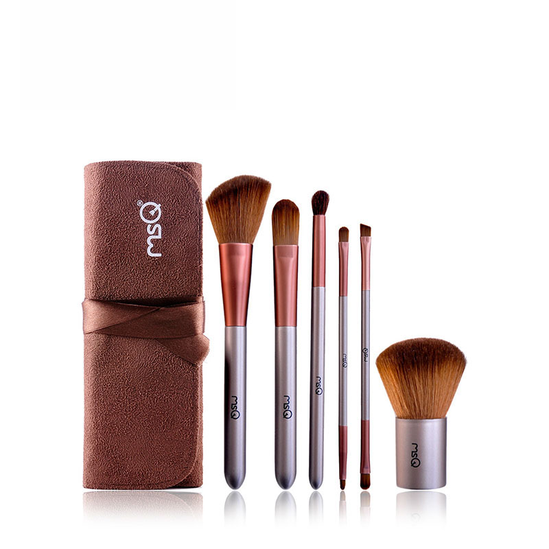6pcs/set Makeup Brushes Set Foundation Make Up Cosmetic Brush Kit Soft Synthetic Hair Travel Size With Double Head Design 24 pcs soft synthetic hair make up tools kit cosmetic beauty makeup brush sets foundation brushes with pink love heart case