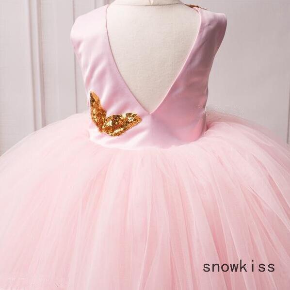 ②Verano puffy tulle niño vestido de niña de flor Rosa alto bajo ...