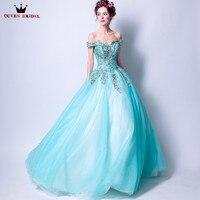 Bóng Gown Fluffy Cap Sleeve Appliques Pearls Tulle Evening Dresses Sky Blue Dài Đảng Dress Evening Gowns Robe De Soiree DT04
