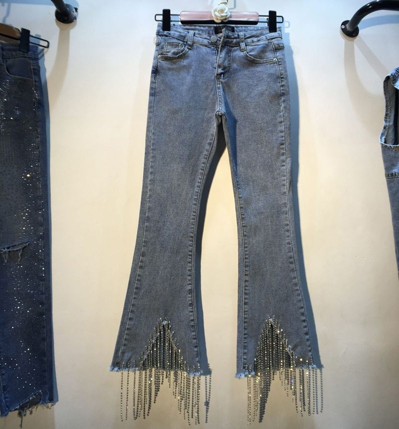 2019 Spring and Summer European Women New Trousers Foot Fringed Diamond Beads Drill High Waist Slim Micro-bra   Jeans   Denim Pants