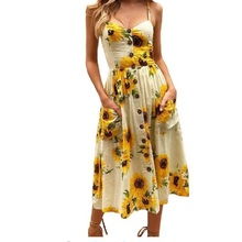Dresses summer fashion 2018 new beach dress pattern printed dot harness women backless bohemian