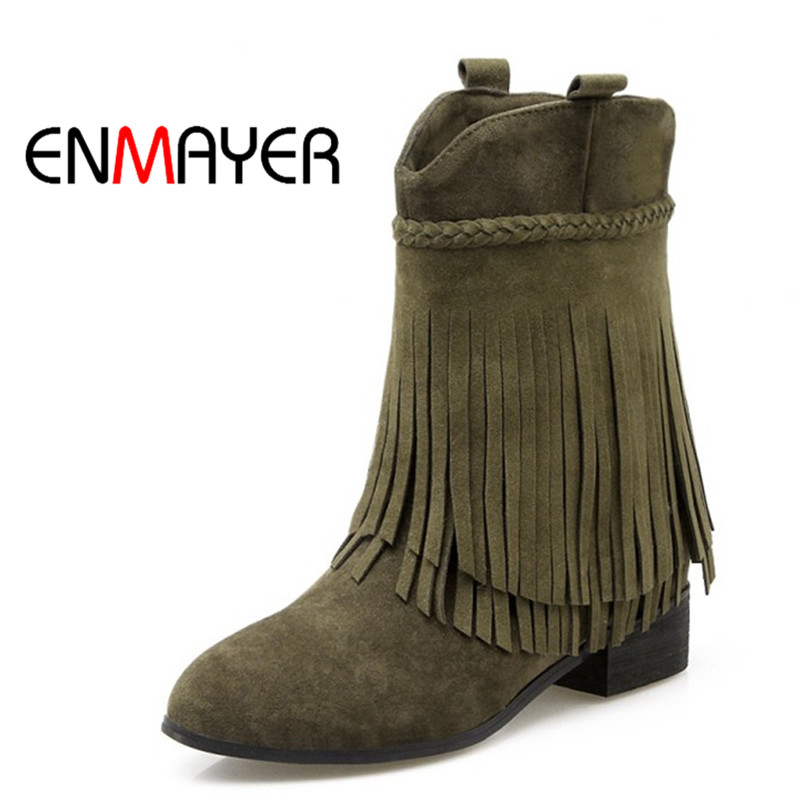 ENMAYER Winter Female Plus Size 34-43 Snow Boots Pointed Toe Slip-on Flats Ankle Fringe Black Beige Shoes Women for Ladies