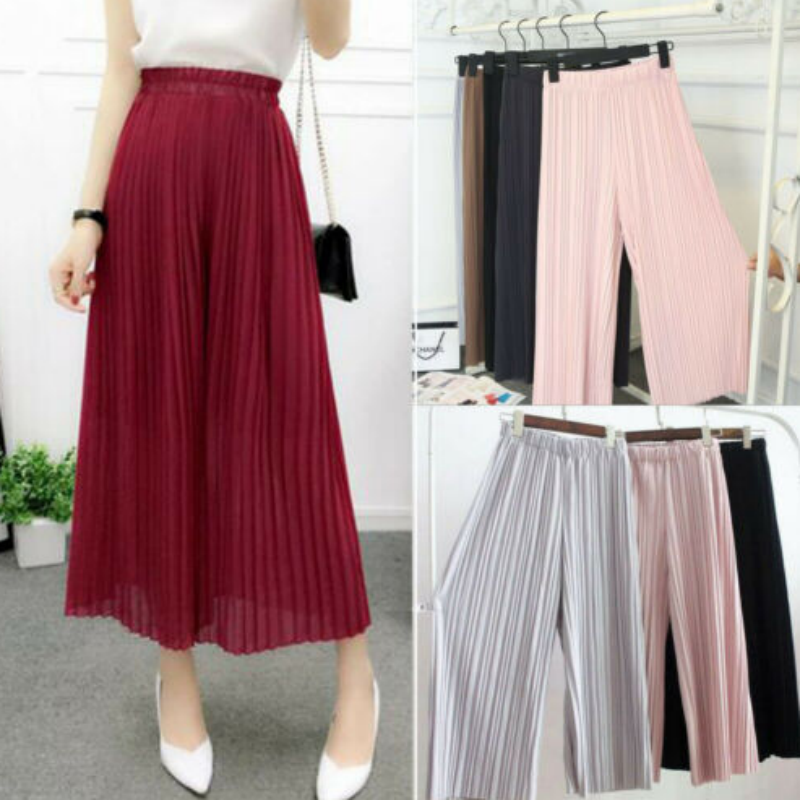 Fashion Hot New   Wide     Leg     Pants   Spring Summer Korean Solid Color High waist Pleated   pants   High Quality Women 2019 New