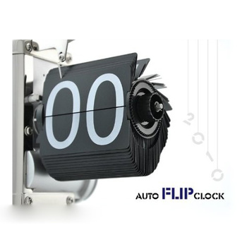 NOCM 黒のレトロなフリップダウンクロック-内ギア操作フリップホームクロック米国無料