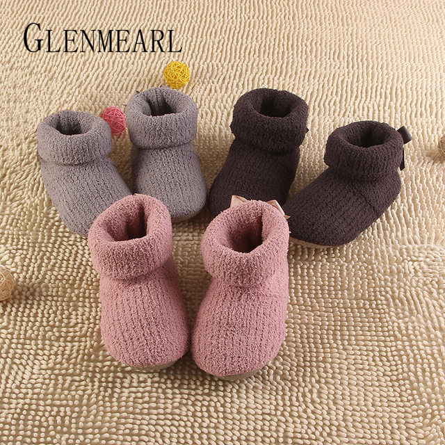 2017 New Super Quality Women Slippers Warm Home Shoes Indoor Floor Socks Fall Winter Soft Floor Slipper Grey Pink Brown XP35