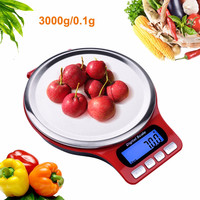 5pcs 3kg/0.1g Digital Multi function Food Kitchen Scale,Stainless Steel, Stainless Steel Platform with LCD Display