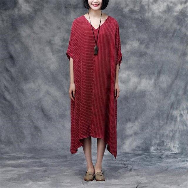 44b7fc7497d BUYKUD Vintage Women Maxi Dress V Neck Bat Sleeve Linen Dress Summer Short  Sleeve Stripe Dress Casual Red Long Irregular Dress